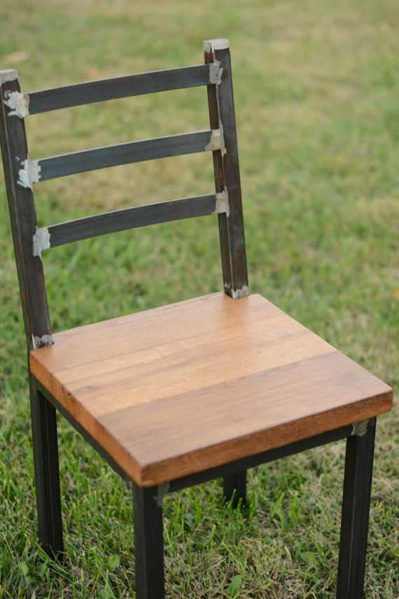 Wood and steel dining chair rustic industrial en 2019 for Muebles de madera industrial acero