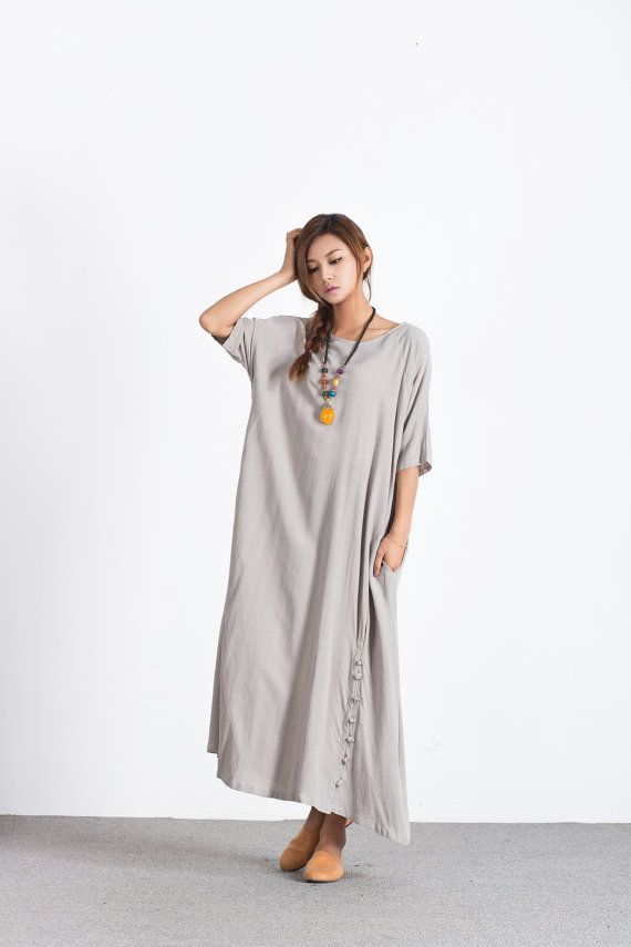 79732958215 Women s Oversize maxi Dress Loose linen cotton dress cotton plus size  clothing caftan linen kaftan large size dress Custom made clothing A55