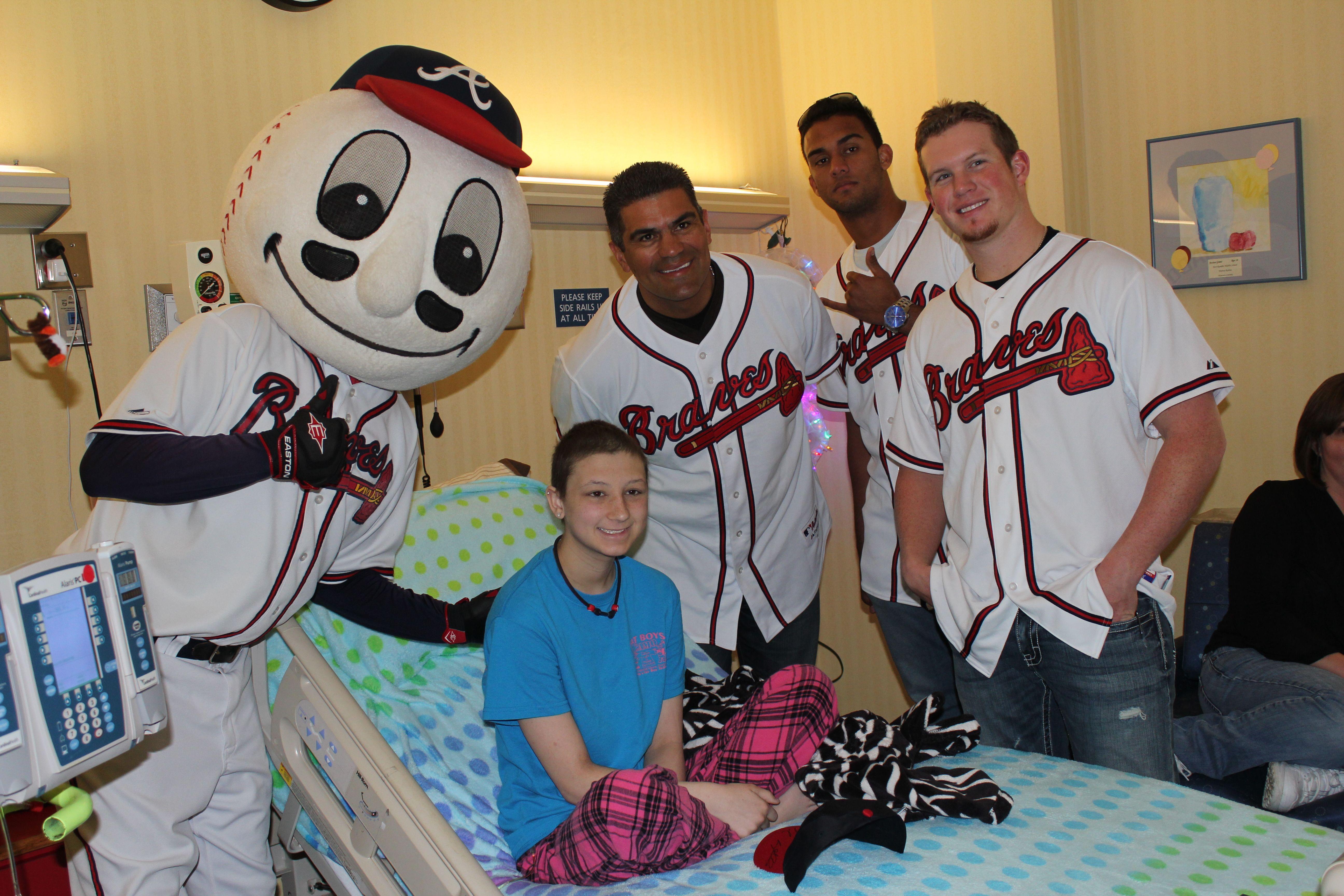 Eddie Perez, Randall Delgado and Craig Kimbrel visit with patients