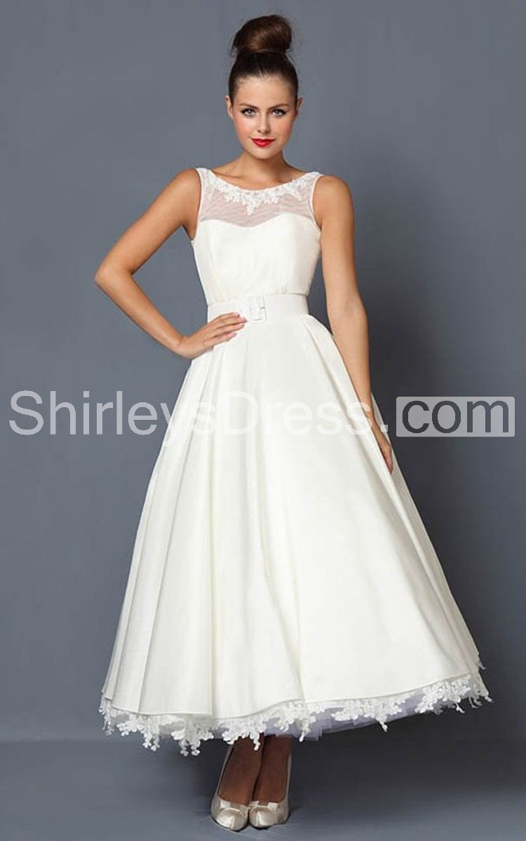 Magnificent illusion bateau neckline tea length dress with lace