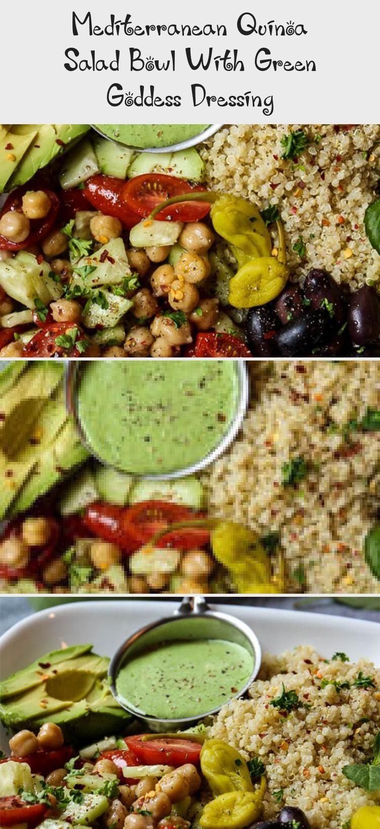 This Mediterranean Quinoa Salad Bowl With Green Goddess Dressing Comes Together In 15 Minutes And Has A Flavorful Colorful Combination Of Healthy Ingredients [ 1635 x 750 Pixel ]