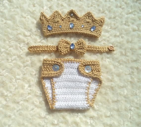 Crochet Baby King  Crown, Crochet Diaper Cover Set, Crochet Prince Outfit,  Baby Shower Gift, Newbor #crownscrocheted Crochet Baby King  Crown, Crochet Diaper Cover Set, Crochet Prince Outfit,  Baby Shower Gift, Newbor #crownscrocheted