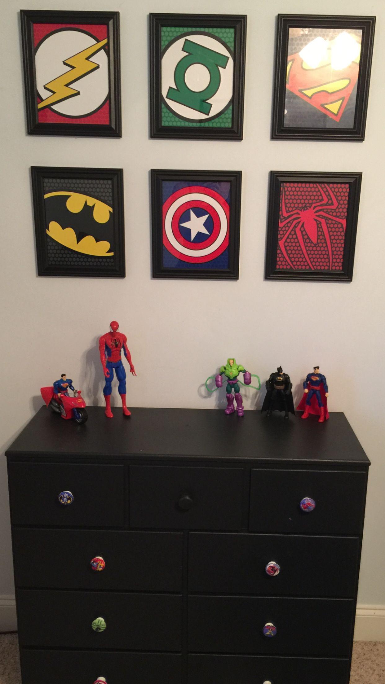 Boys Superhero Bedroom: Painted Dresser With Superhero Knobs And Framed Card Stock