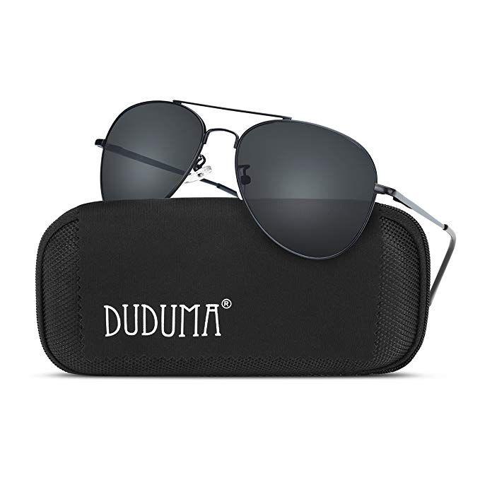 b8477f9d3c Duduma Premium Classic Aviator Sunglasses with Metal Frame Uv400 Protection( Black frame smoke lens)