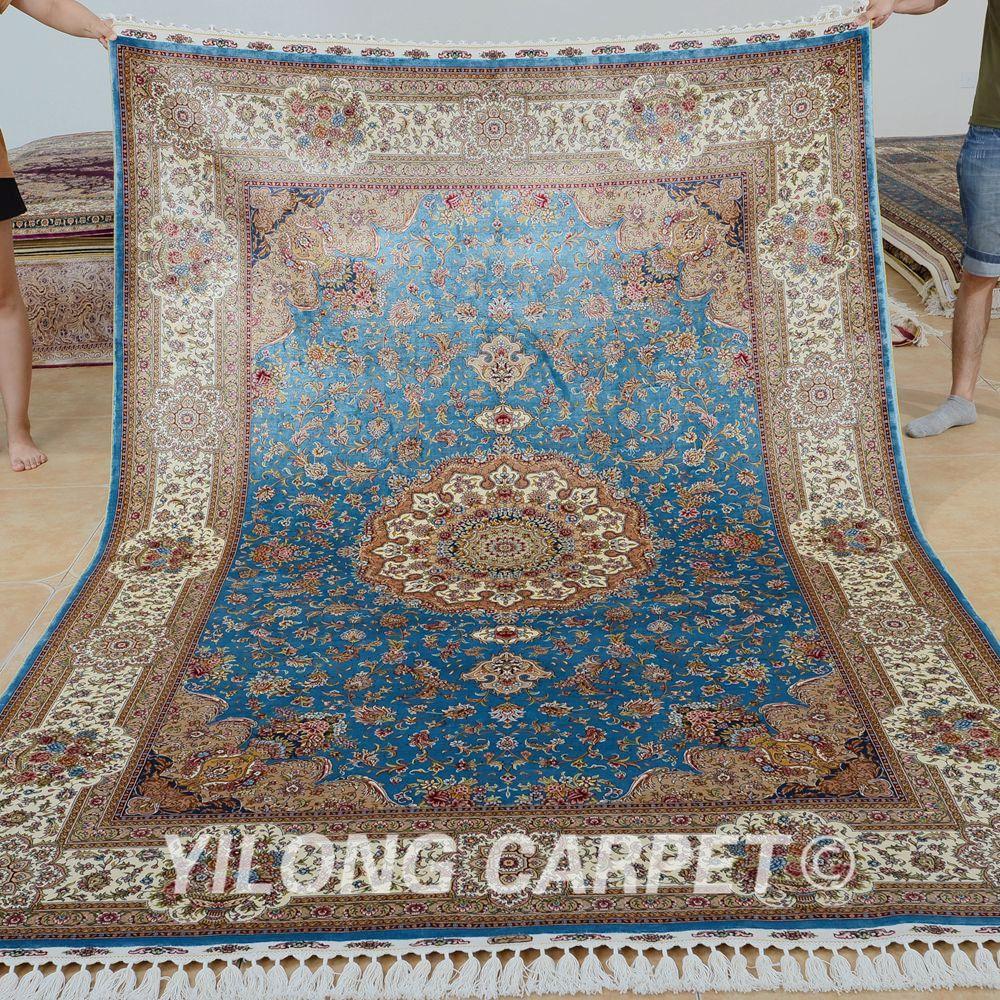 Yilong 6 X9 Kashmir Qum Carpet Vantage Blue Handmade Silk Persian Rugs 0708