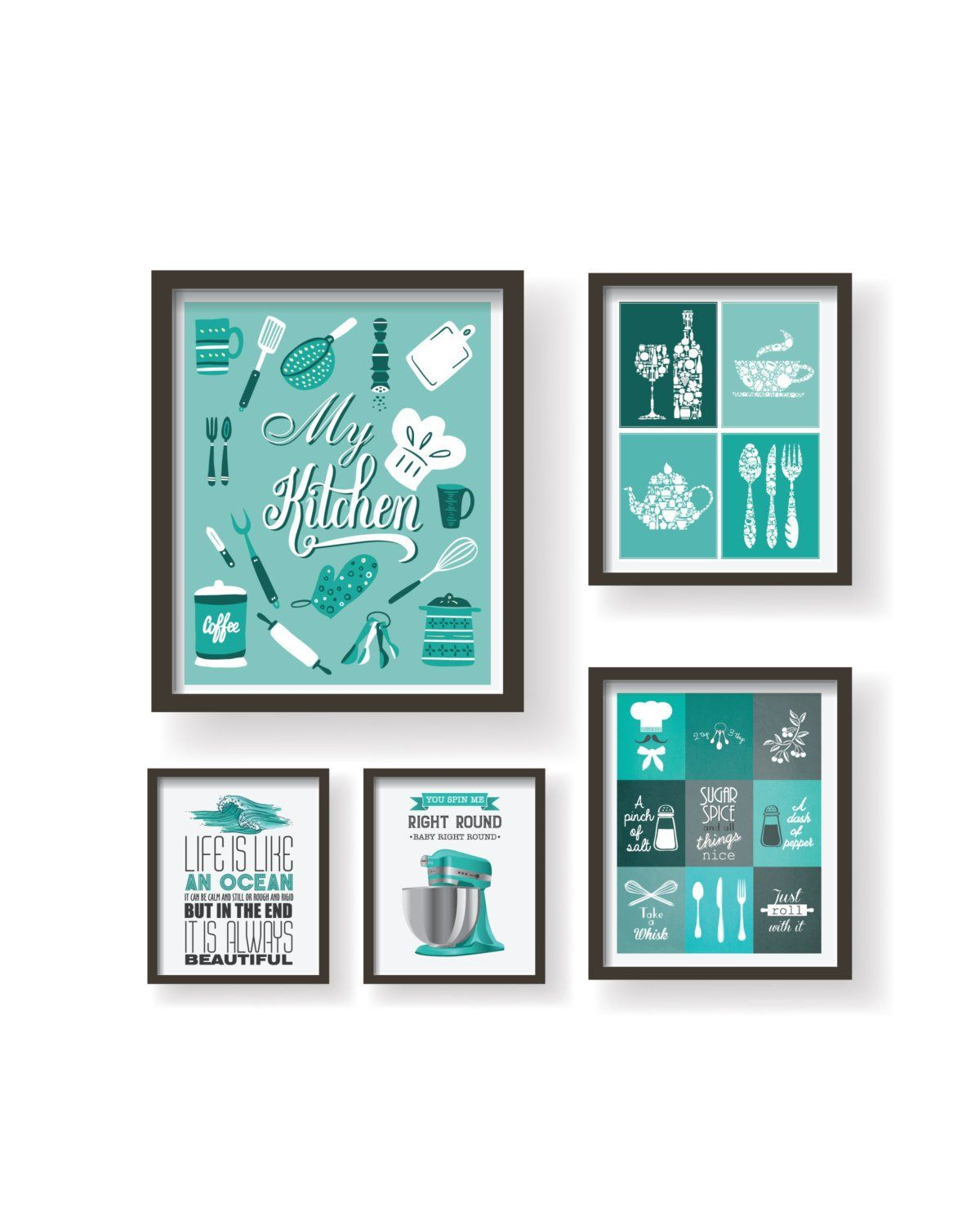 Teal Kitchen Decor Turquiose Kitchen Wall Art Set For Kitchen