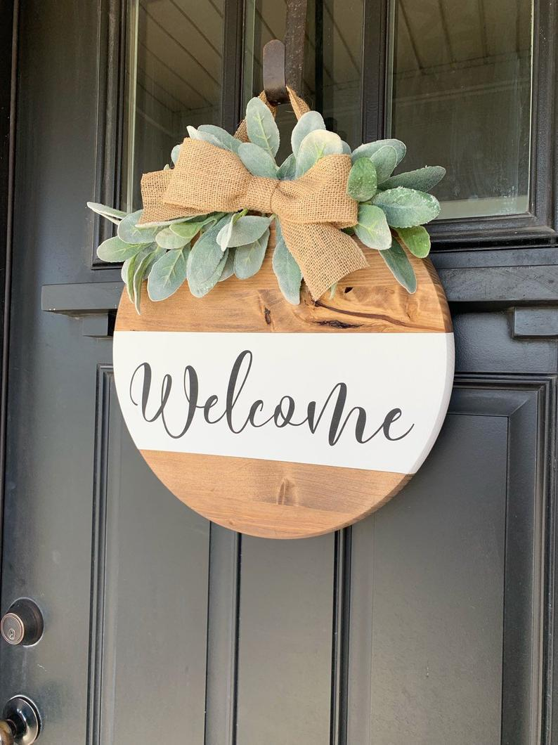 Welcome Wood Sign Hanging Entry Sign Front Door Sign Lambs Etsy Welcome Wood Sign Floral Signs Front Door Signs