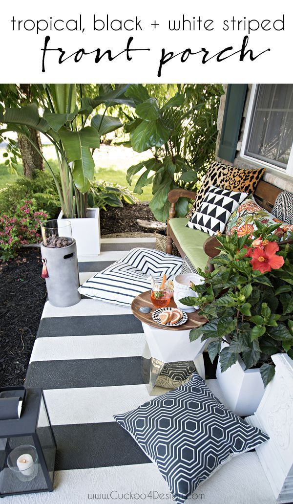 Tropical Black And White Striped Porch Decoracion Terraza