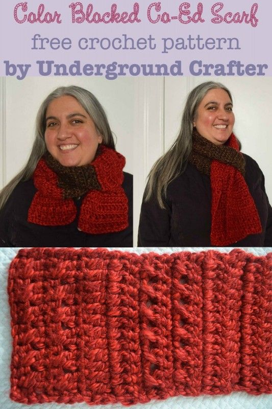 Crochet Pattern: Color Blocked Co-Ed Scarf | Pinterest | Ponchos y ...