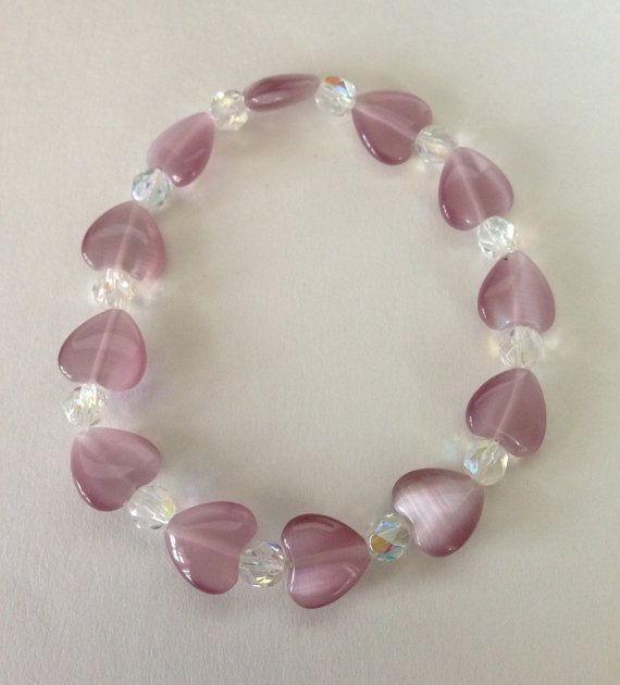 Mauve Heart with Faceted Iridescent Crystal Beaded by RayrFindz