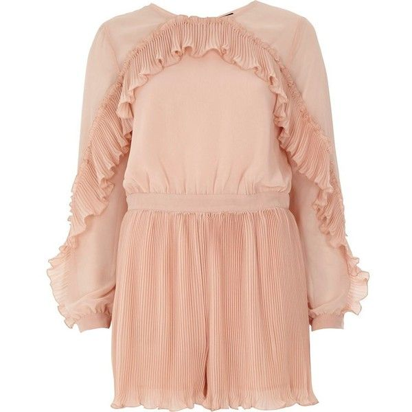 9838f9e8c5 River Island Light pink long sleeve pleated frill romper (€100) ❤ liked on  Polyvore featuring jumpsuits