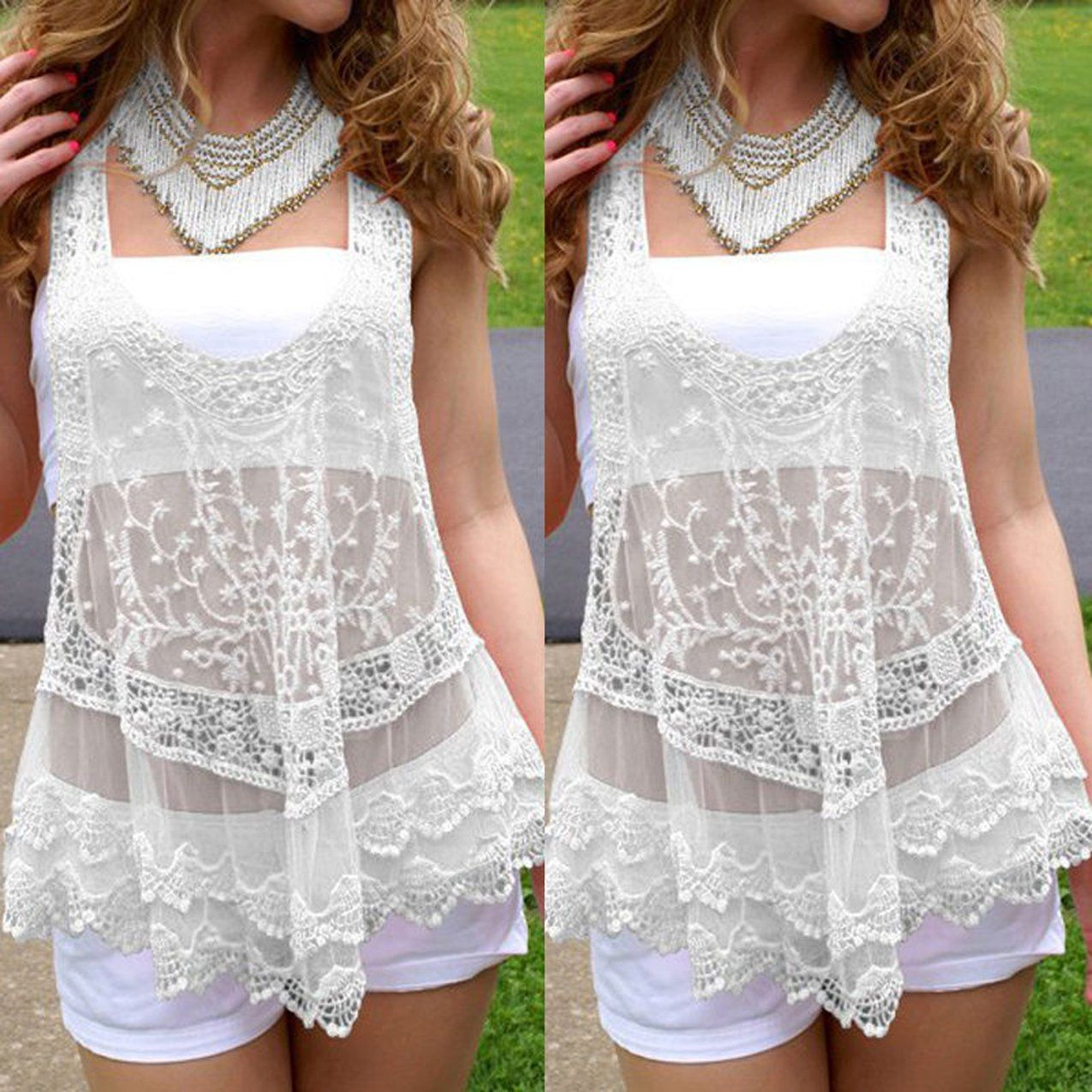Lace dress cover up  Womens Sexy VNeck Bikini Beach Wear Lace Pullover Cover Up Tanks
