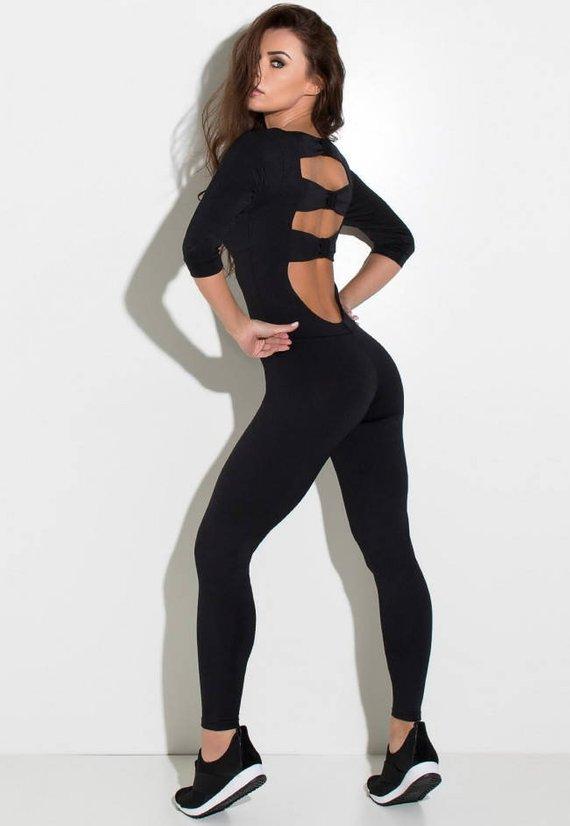 388b9f8fc82 Black 3 4 Sleeve Unitard Bodysuit Catsuit Jumpsuit Brazilian Workout  Activewear