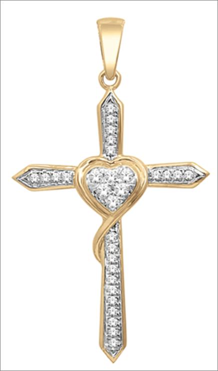 716c371853b7 Elegante Cruz en oro amarillo de 14k con 15 puntos de diamante ...
