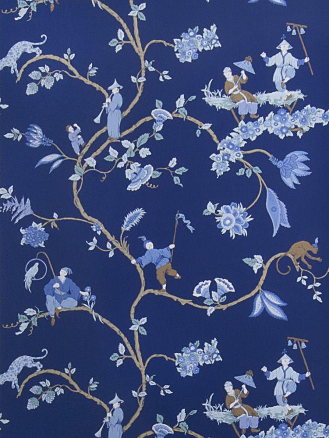 1091e Cathay Pastora S0550 Indigo Chinoiserie Wallpaper