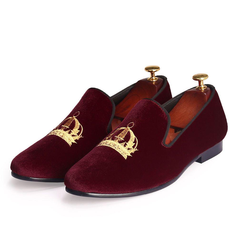 1700b83e10e3 Harpelunde Handmade Red Velvet Men Loafer Slippers Red Bottom Flats Shoes  8-13