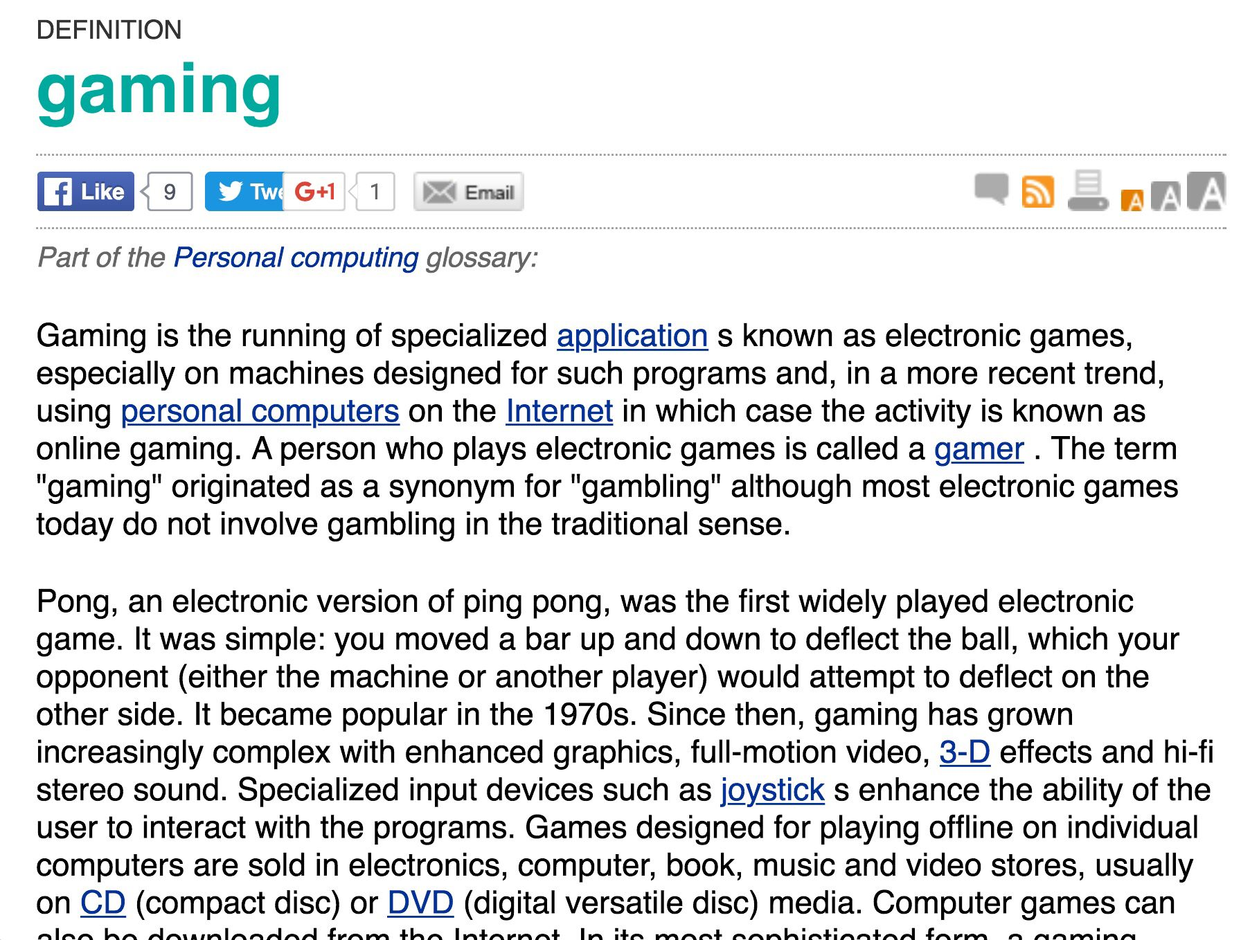 gaming Definitions, Games, Electronics games