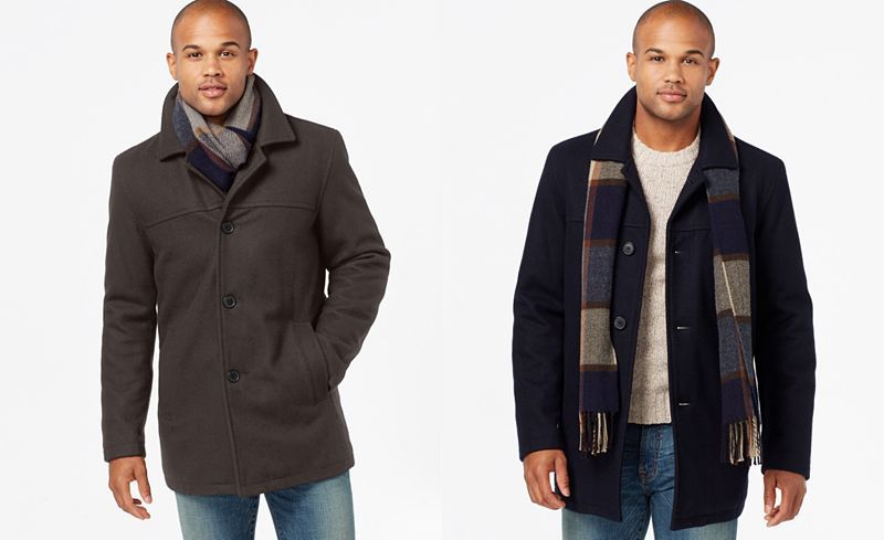 Tommy Hilfiger Mens Wool Melton Walking Coat with Scarf Wool Coat