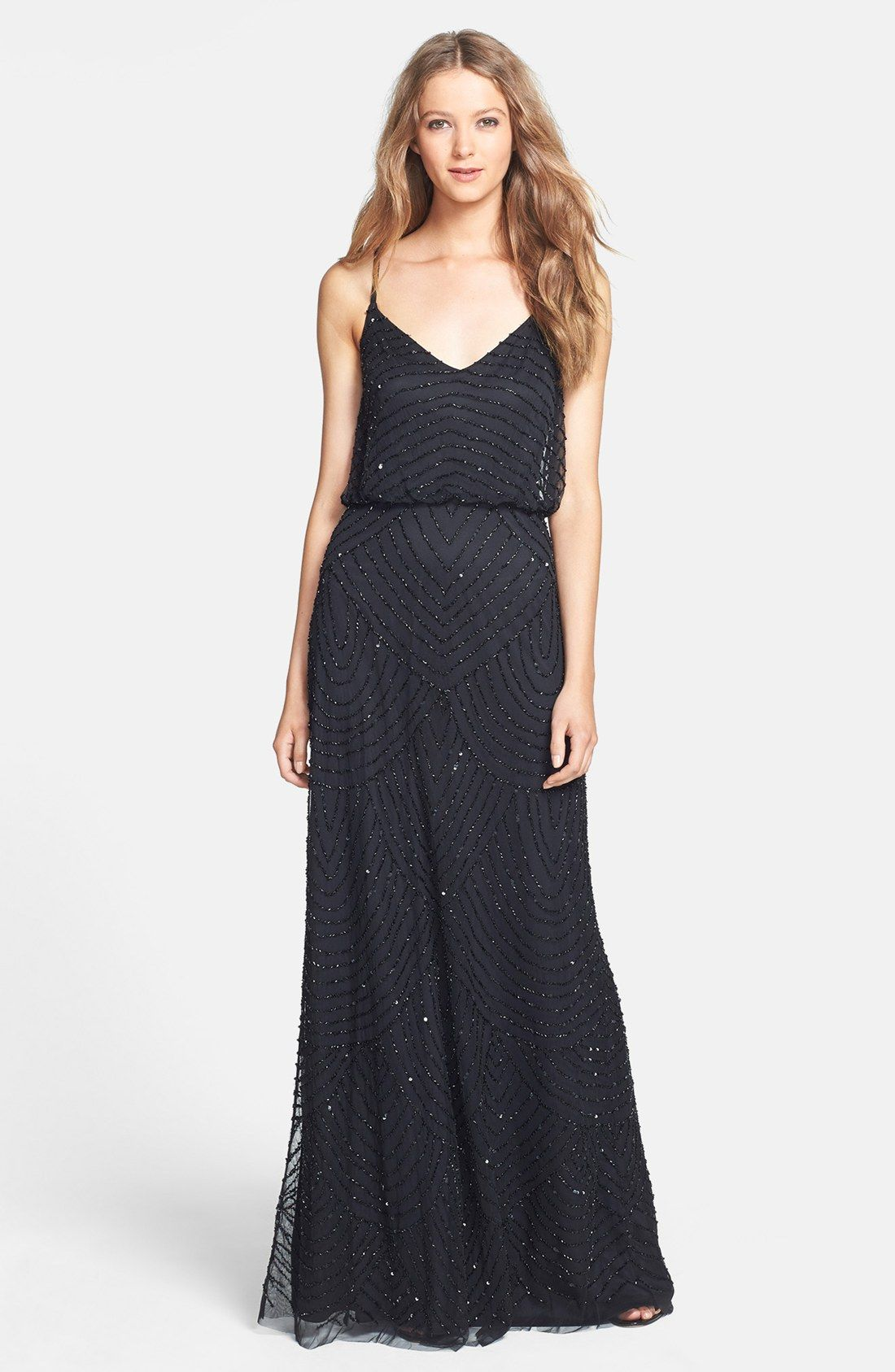 Adrianna Papell Embellished Blouson Gown Regular Petite
