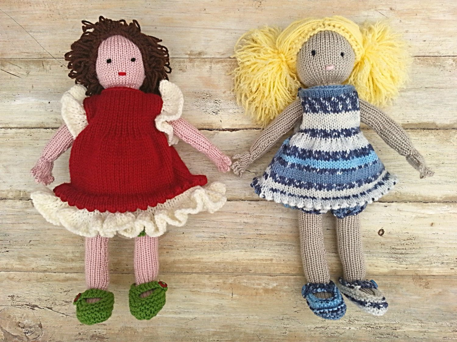 KNITTING PATTERN, Doll, Softies, Dress Up Doll, Knit Doll Pattern, Girls Toy Doll, Waldorf Doll, Toddler Toy, Snow White and Rose Red by heaventoseven on Etsy