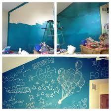 Wand mit blauer Kreidefarbe