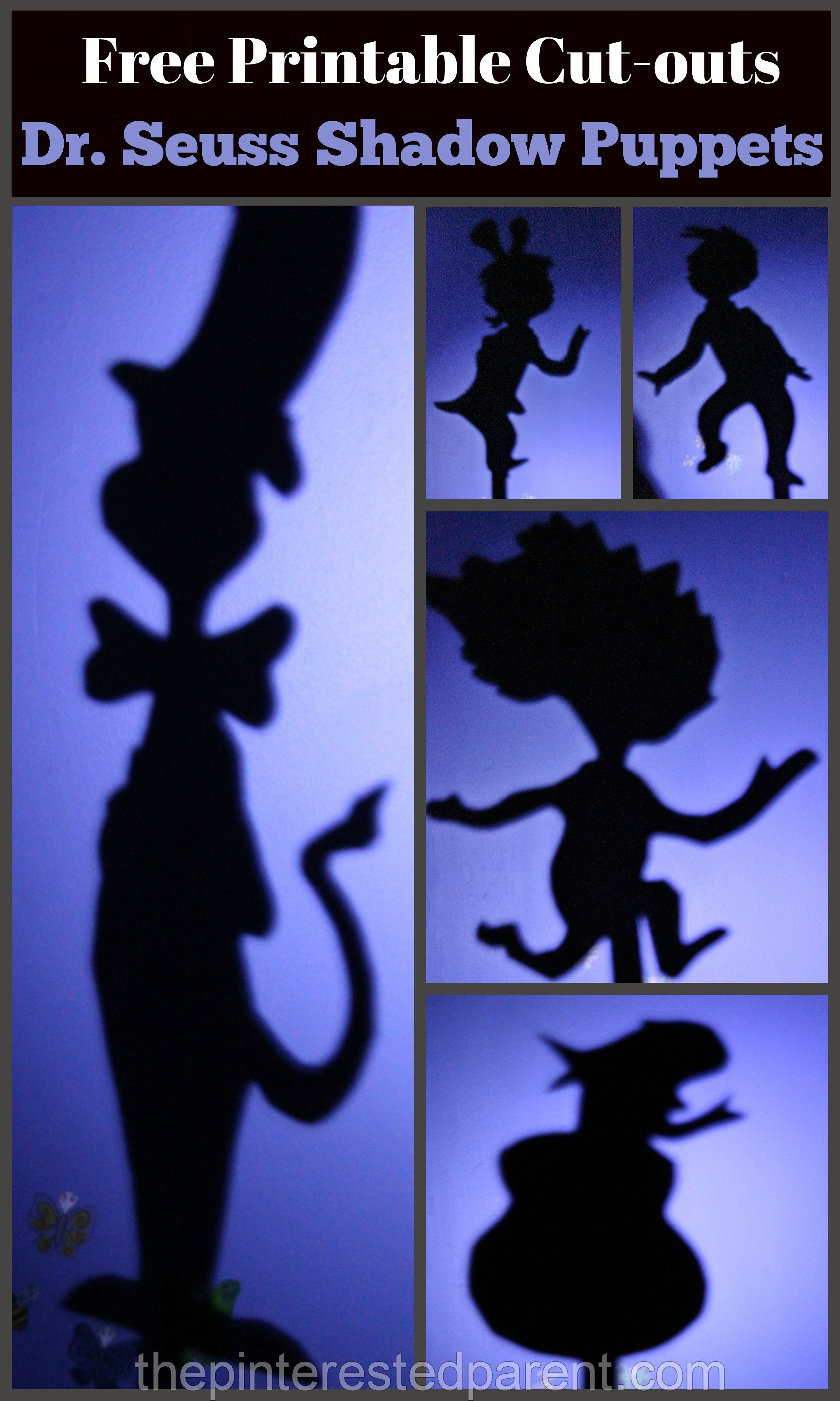 2692e8b3 Dr. Seuss' 'The Cat In The Hat' Inspired shadow puppets with free printable  cutouts.