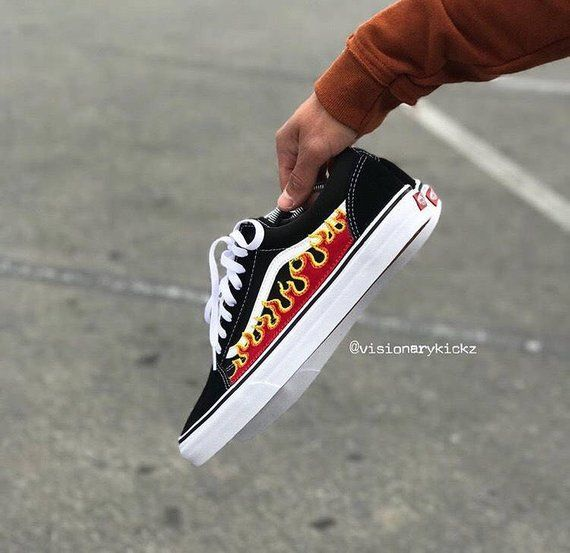 9ab73c374fb5cf Old skool vans with flame patch stitching