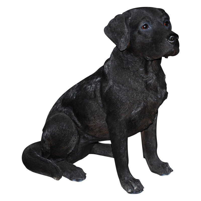 Natures Gallery Black Labrador Sitting Outdoor Statue - 83593