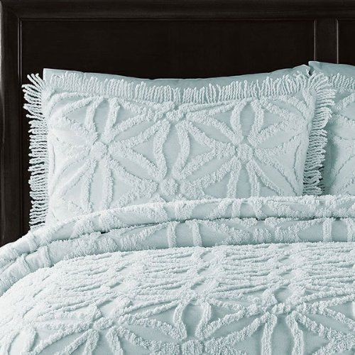 Perfect LaMont Luxury Bedding Chenille Coverlet Quilt Queen Quilt 3pc Set Light  Blue Textured Bedspread Arianna Pearl