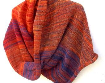 knit colorful cowl shawl, knitted circle scarf, infinity scarf, hoodies