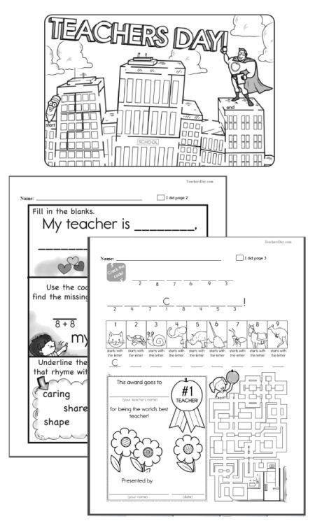 Teachers' Day workbook for teachers. Great worksheets