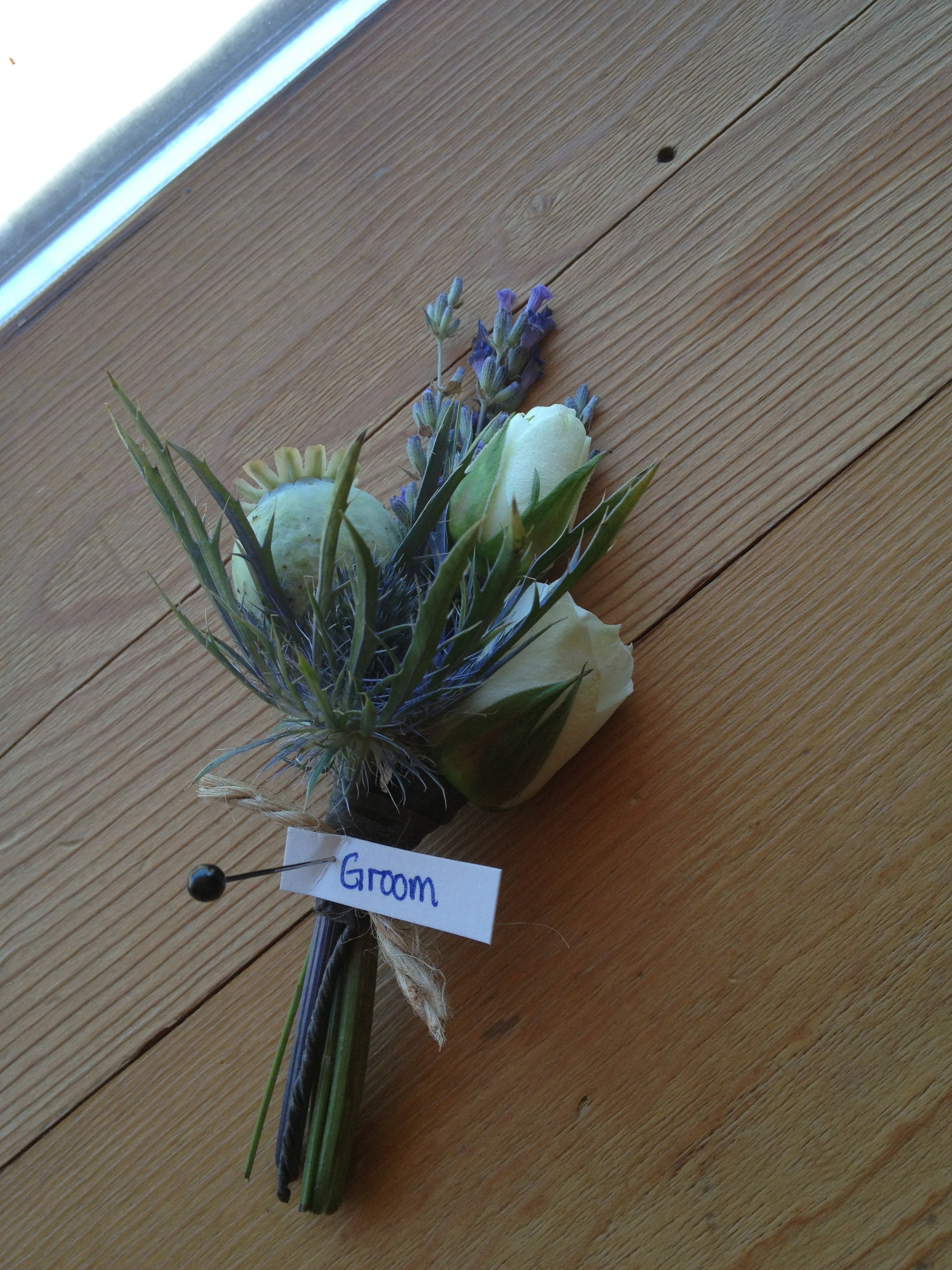 Lavender with rose buds and poppy pod. @ Lucy's Informalflowers