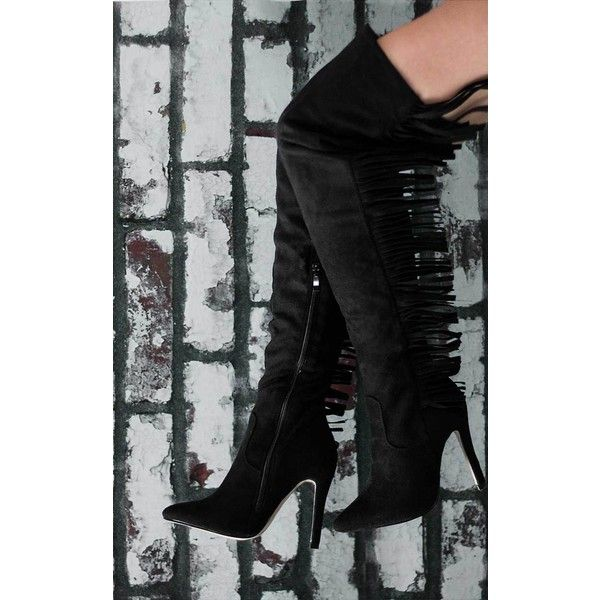 OSCA Black Thigh High Boots from