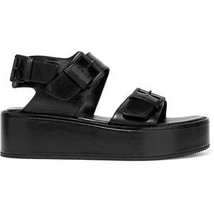 For Sale Cheap Authentic Black Leather Platform Sandals Ann Demeulemeester Popular For Sale cYf48OFvT