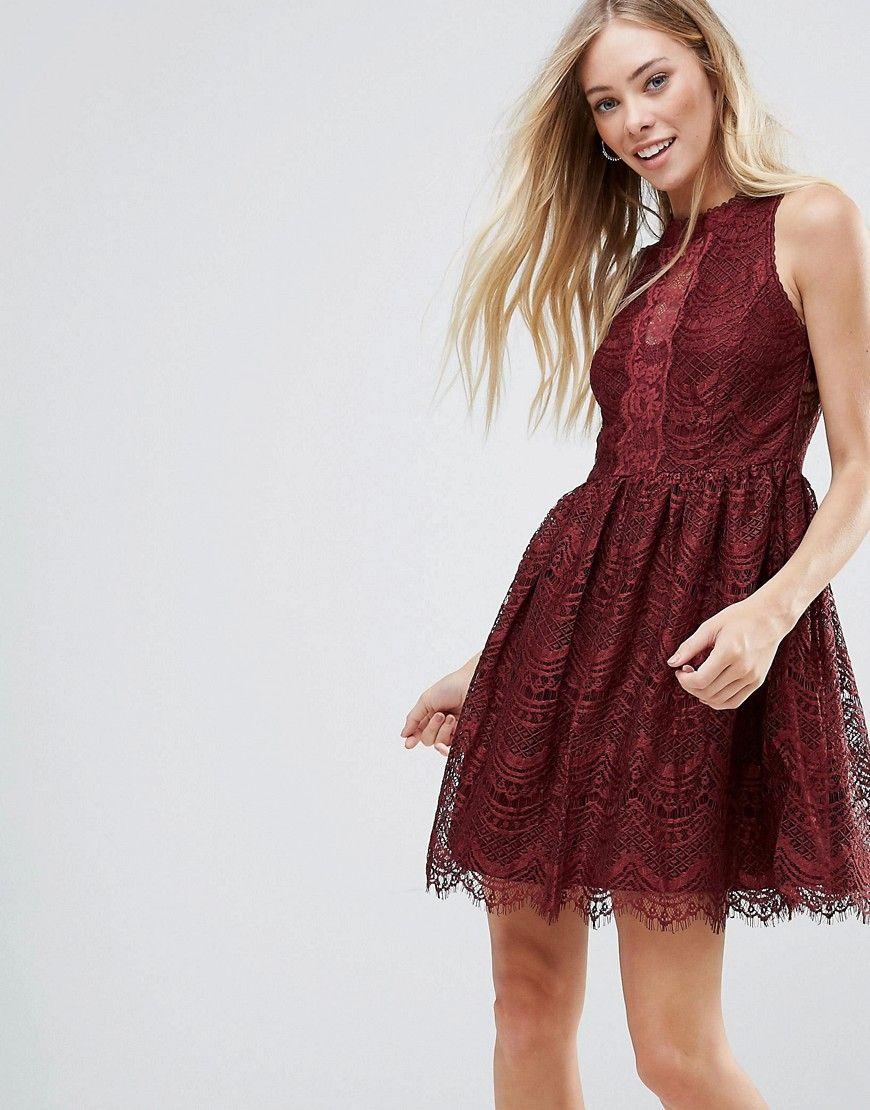QED London - Kleid mit Spitzendetails - Rot Jetzt bestellen unter ...