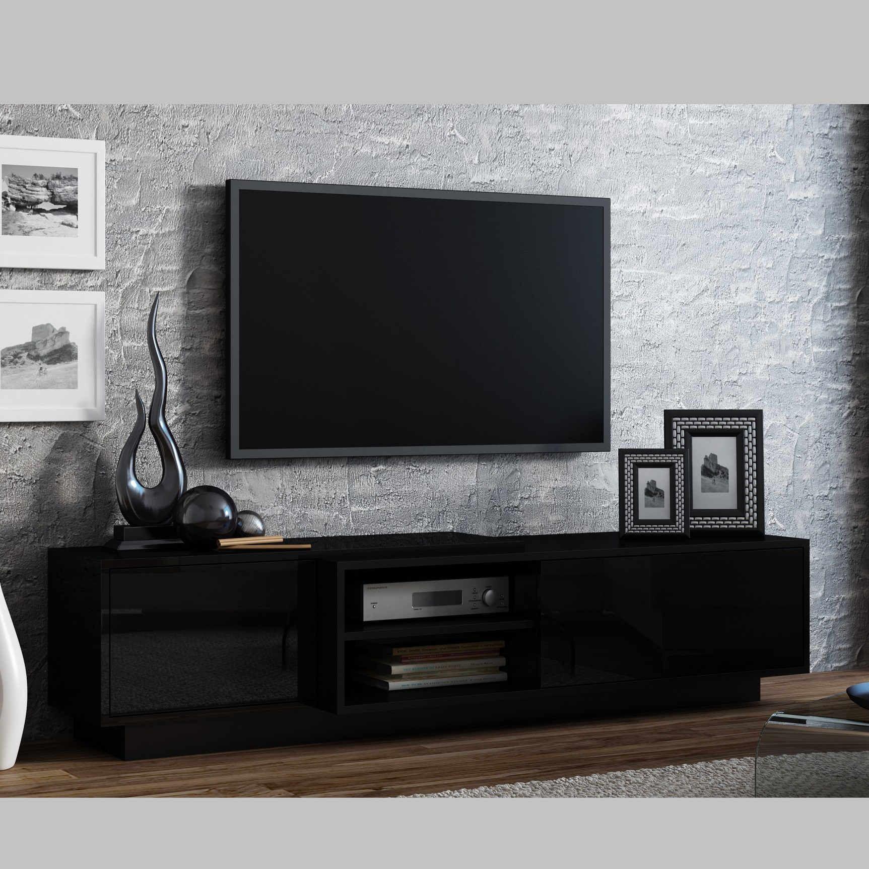 Redoutable Meuble Tv Noir Bois D Coration Fran Aise Pinterest  # Meuble Tv Noir Bois