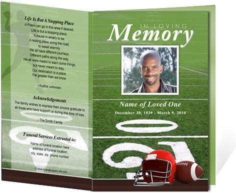 Funeral programs and obituary programs football sports for Obituary pamphlet template