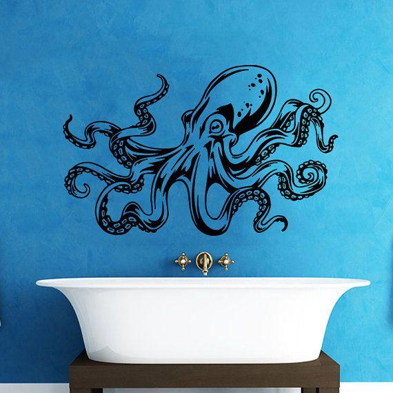 Octopus Wall Decal Tentacles Sprut Kraken Ocean Sea Animal Wall Decals  Vinyl Sticker Interior Home Decor