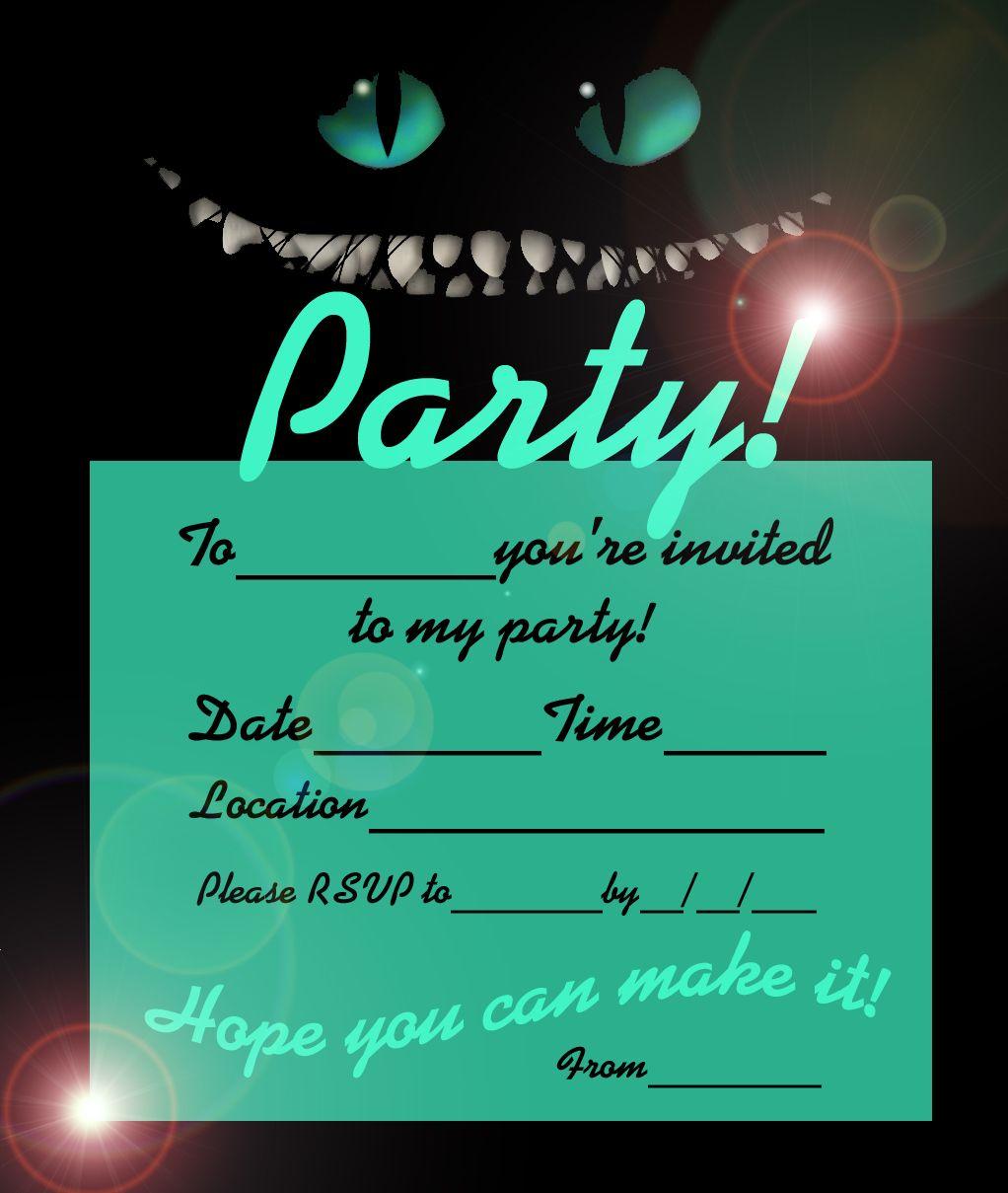 AliceWonderlandCHESHIRECATINVITEFREEjpg - Free birthday invitations alice in wonderland