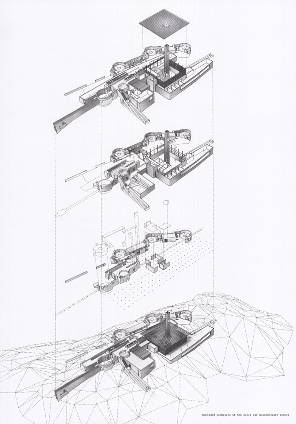 Exploded isometric of the Civil War Museum | ARCHITECTURE