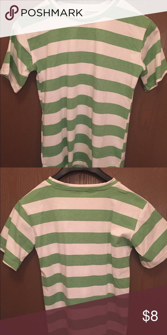 Light Green And White Striped T Shirt Stripe Tshirt White Stripes Tshirt White Stripe