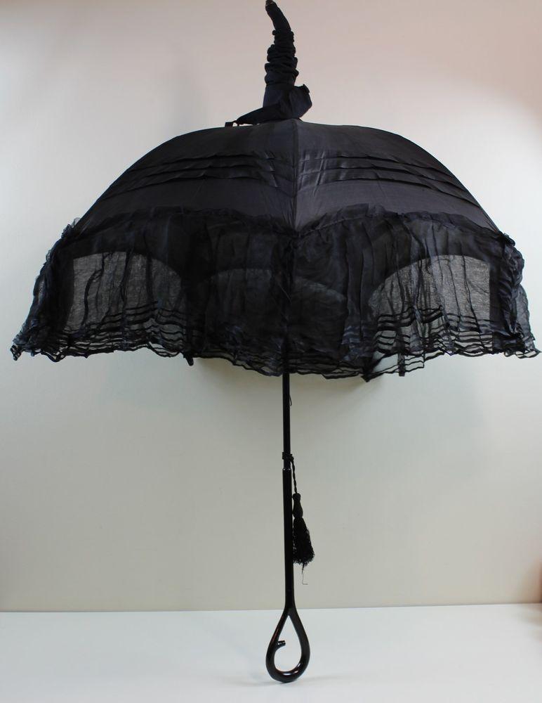 Victorian Mourning Umbrella, Parasol Black Silk & Lace ...