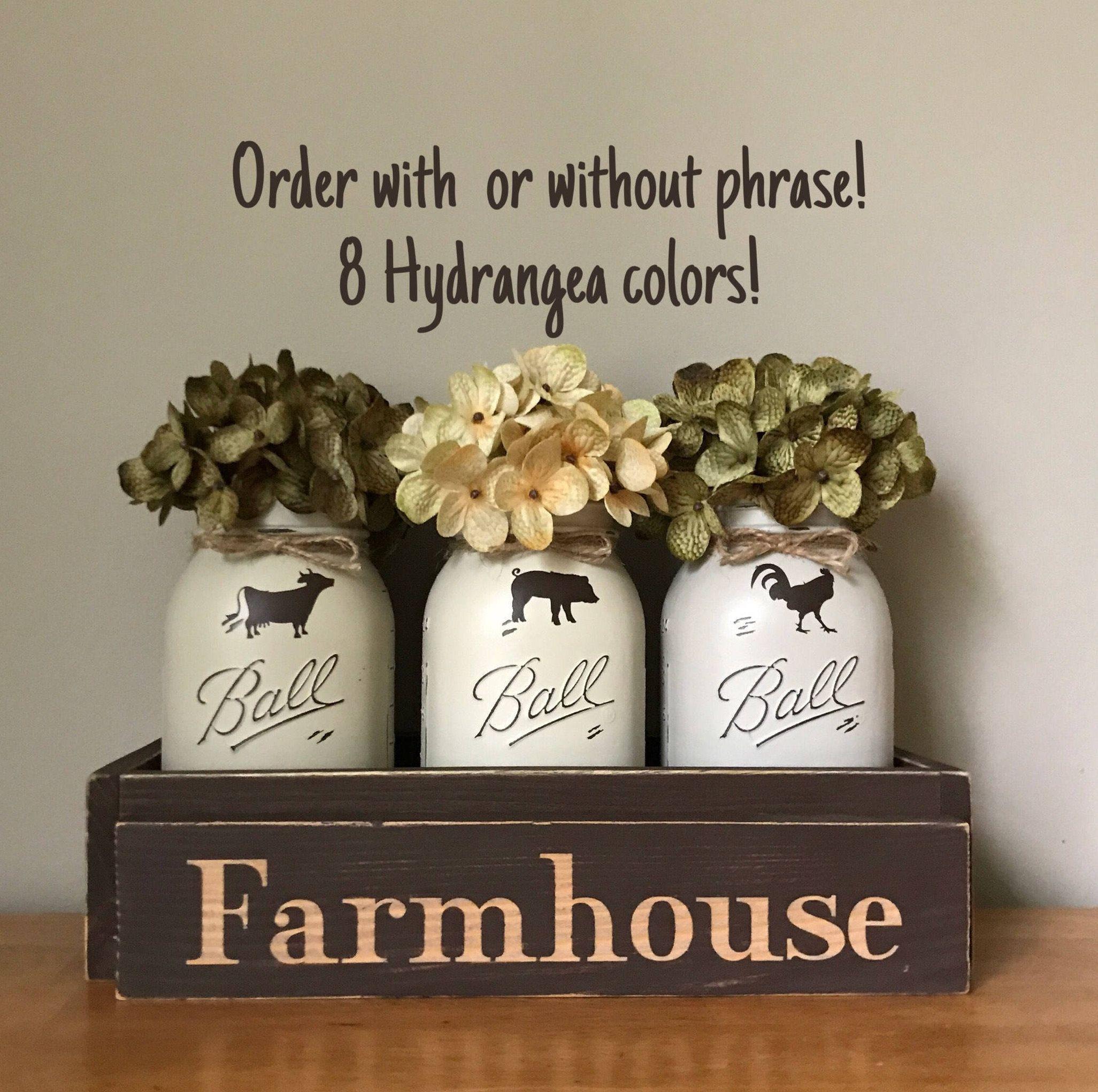 Farmhouse Centerpiece Dining Table Cow Pig Rooster Decor Mason Jar Centerpieces Dining Table Centerpiece Dining Room Table Centerpieces Farmhouse Centerpiece