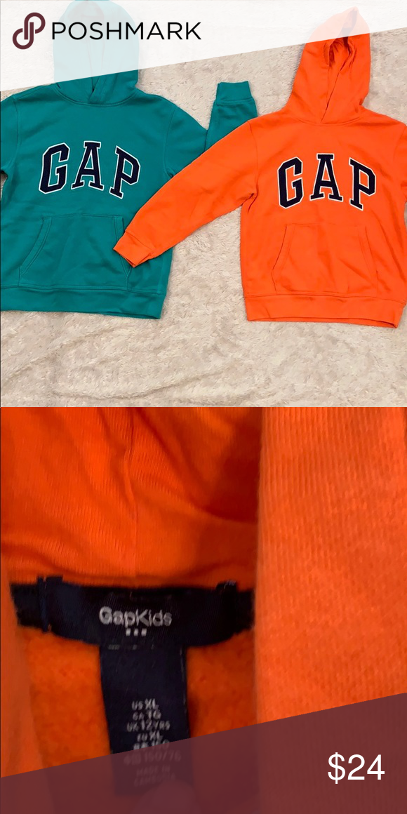 Gap Hoodie Sweatshirts 2 Excellent Used Condition I Think The Orange Hoodie Was Not Actually Worn At All Price Inc Sweatshirts Hoodie Hoodies Sweatshirts