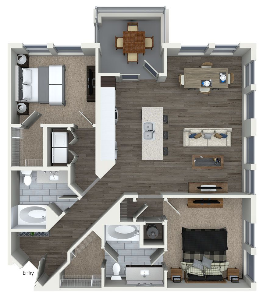 2 bedroom 2 bathroom floorplan at 555 Ross Avenue Apartments in Dallas  TX. 2 bedroom 2 bathroom floorplan at 555 Ross Avenue Apartments in
