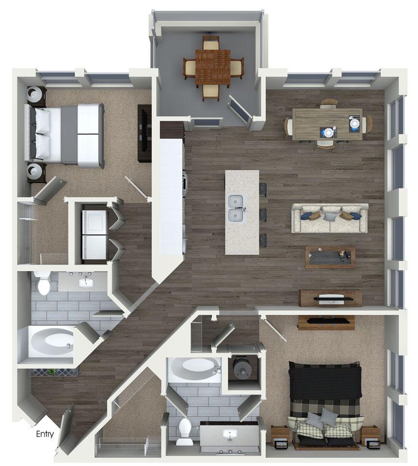 Elegant 2 Bedroom 2 Bathroom Floorplan At 555 Ross Avenue Apartments In Dallas, TX.