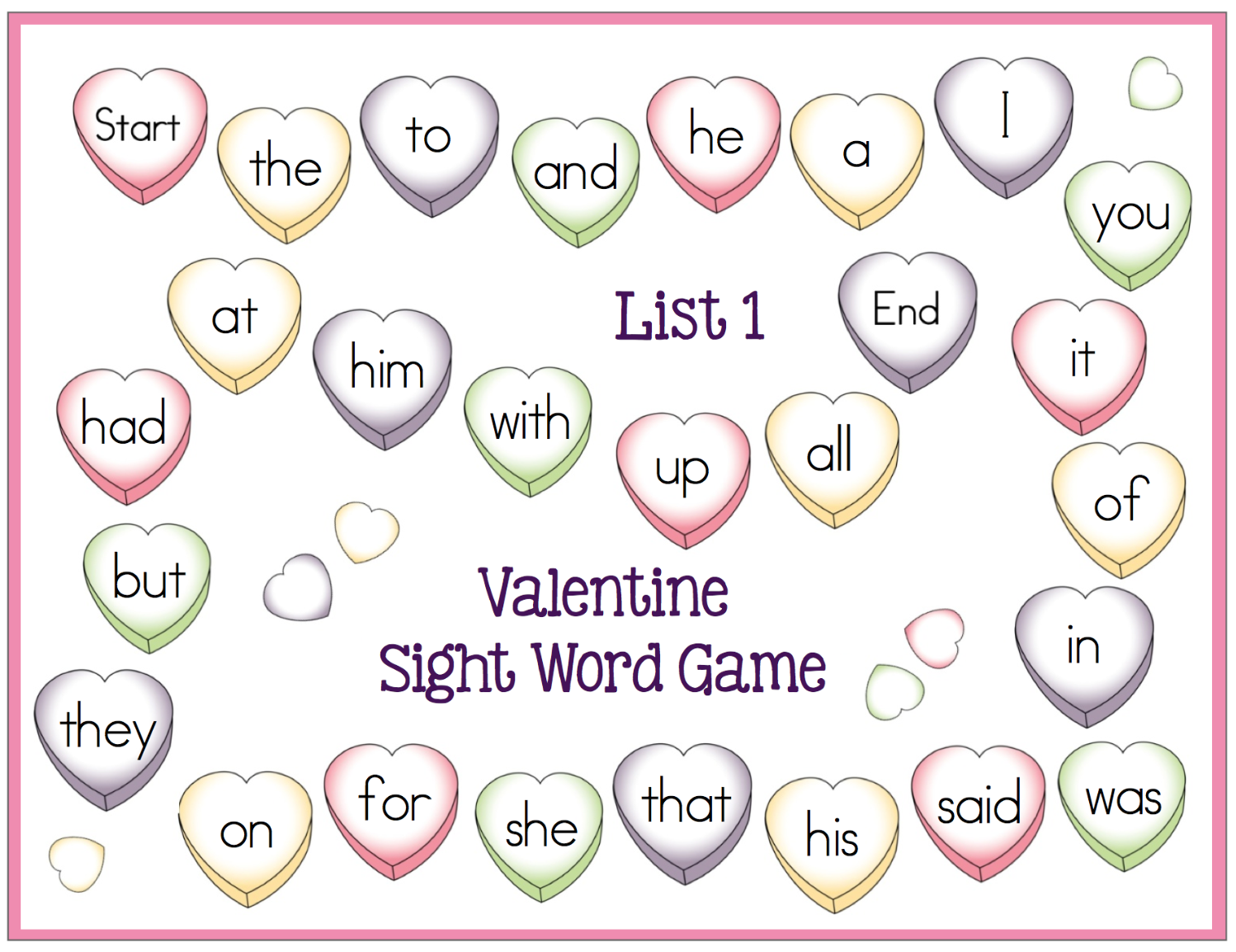 free valentine sight word game boards fun february center activity - Free Valentine Games