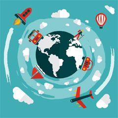 フリーイラスト素材 イラスト 旅行 トラベル 乗り物 地球 バス