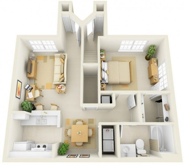 50 Plans en 3D du0027appartement avec 1 chambres House, Apartments and