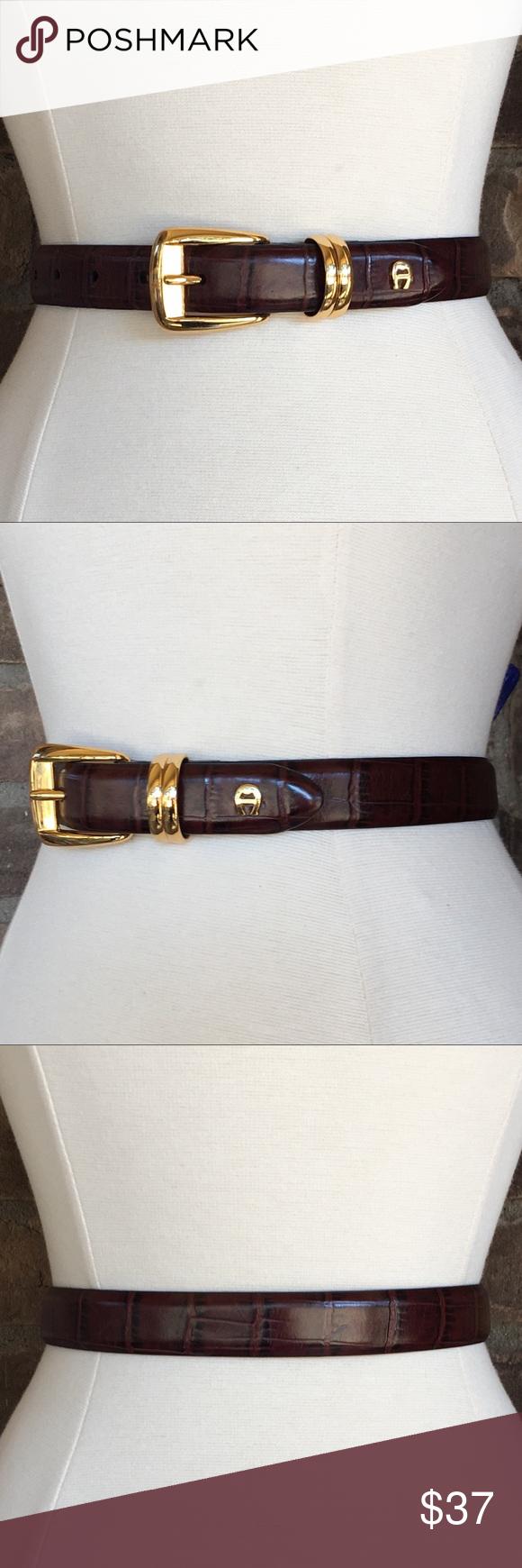 Etienne Aigner Brown Leather Croc Belt Gold Buckle Belt Aigner Brown Leather